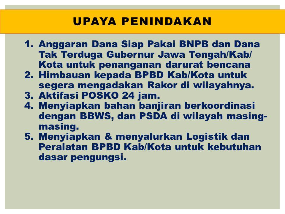 UPAYA PENINDAKAN 1.Anggaran Dana Siap Pakai BNPB dan Dana Tak Terduga Gubernur Jawa Tengah/Kab/ Kota untuk penanganan darurat bencana 2.Himbauan kepad
