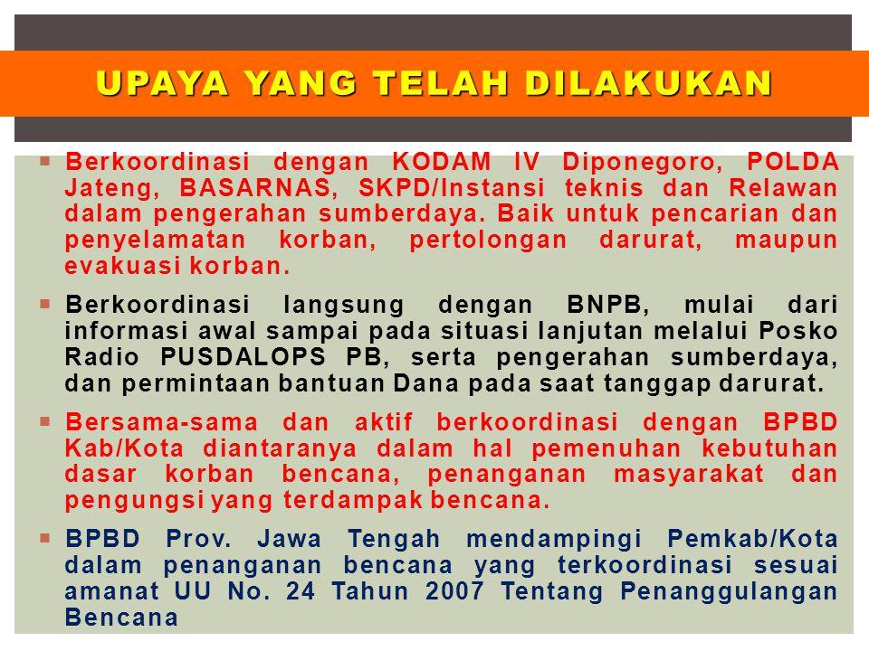  Berkoordinasi dengan KODAM IV Diponegoro, POLDA Jateng, BASARNAS, SKPD/Instansi teknis dan Relawan dalam pengerahan sumberdaya. Baik untuk pencarian
