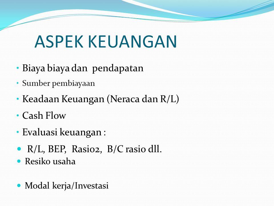 ASPEK KEUANGAN • Biaya biaya dan pendapatan • Sumber pembiayaan • Keadaan Keuangan (Neraca dan R/L) • Cash Flow • Evaluasi keuangan :  R/L, BEP, Rasio2, B/C rasio dll.