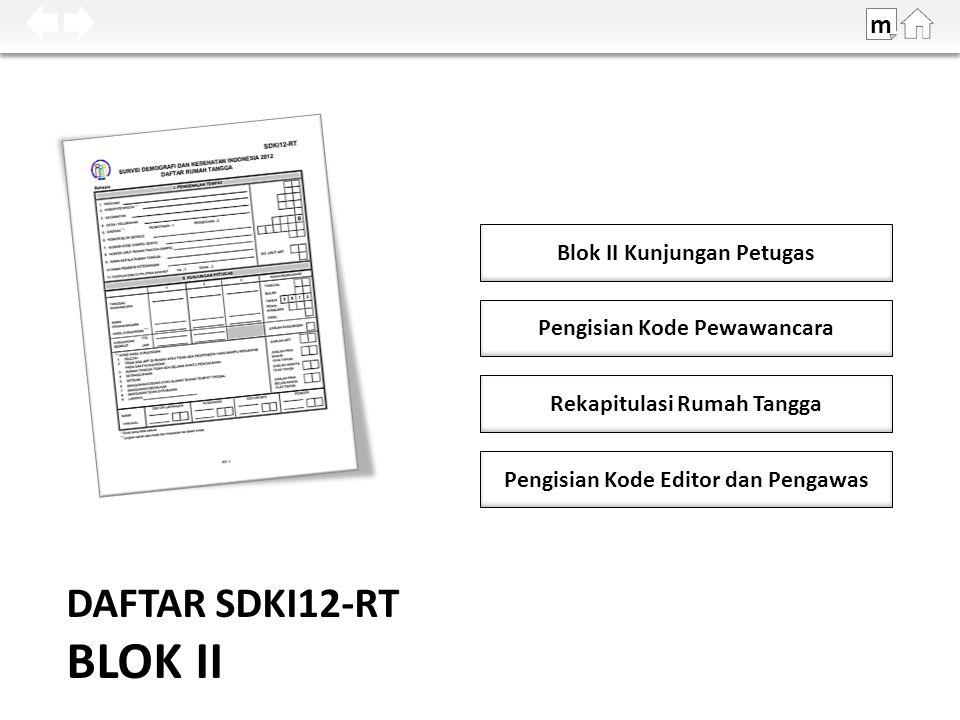 DAFTAR SDKI12-RT BLOK II Blok II Kunjungan Petugas m Pengisian Kode Pewawancara Rekapitulasi Rumah Tangga Pengisian Kode Editor dan Pengawas
