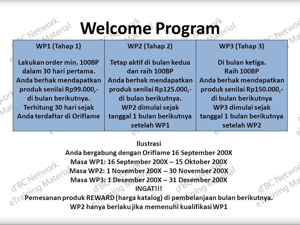Welcome Program WP1 (Tahap 1) Lakukan order min.100BP dalam 30 hari pertama.