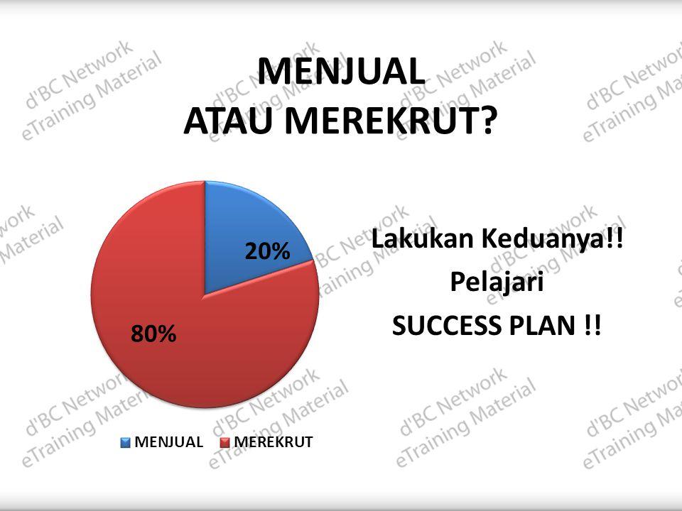 MENJUAL ATAU MEREKRUT? Lakukan Keduanya!! Pelajari SUCCESS PLAN !!
