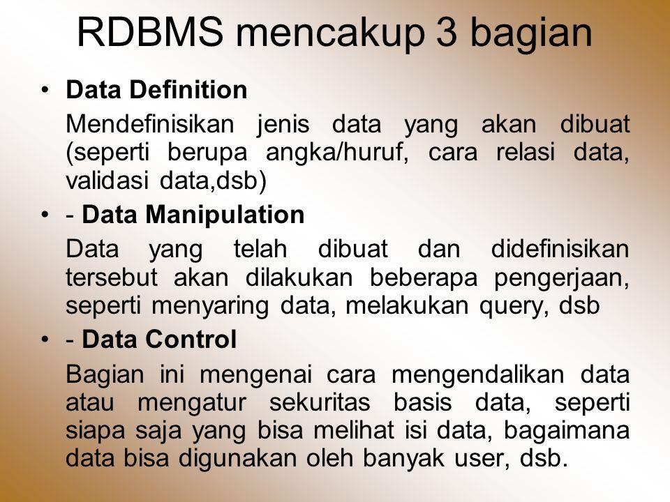 RDBMS mencakup 3 bagian •Data Definition Mendefinisikan jenis data yang akan dibuat (seperti berupa angka/huruf, cara relasi data, validasi data,dsb) •- Data Manipulation Data yang telah dibuat dan didefinisikan tersebut akan dilakukan beberapa pengerjaan, seperti menyaring data, melakukan query, dsb •- Data Control Bagian ini mengenai cara mengendalikan data atau mengatur sekuritas basis data, seperti siapa saja yang bisa melihat isi data, bagaimana data bisa digunakan oleh banyak user, dsb.