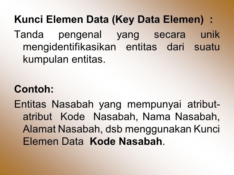 Kunci Elemen Data (Key Data Elemen) : Tanda pengenal yang secara unik mengidentifikasikan entitas dari suatu kumpulan entitas.