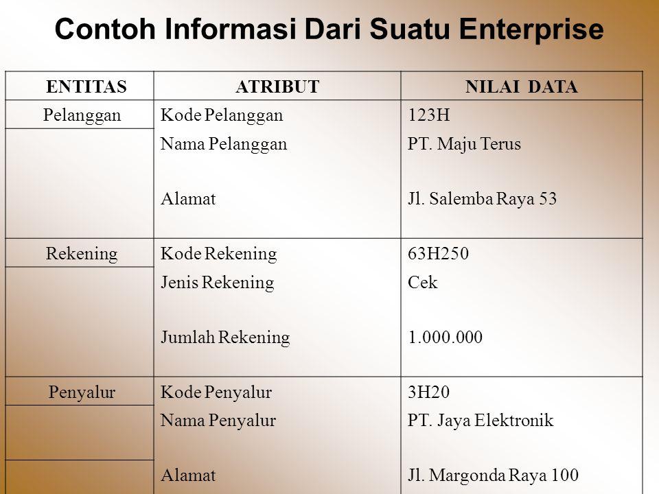 Contoh Informasi Dari Suatu Enterprise ENTITASATRIBUTNILAI DATA PelangganKode Pelanggan123H Nama PelangganPT.