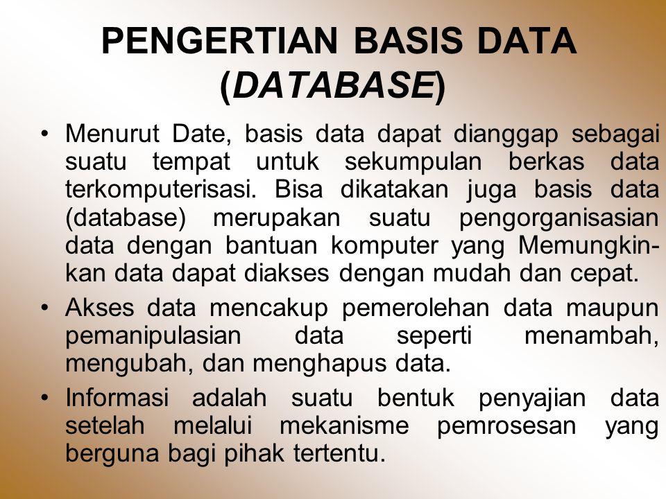 PENGERTIAN BASIS DATA (DATABASE) •Menurut Date, basis data dapat dianggap sebagai suatu tempat untuk sekumpulan berkas data terkomputerisasi.