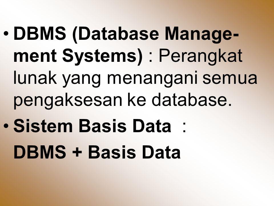 Entitas : Suatu obyek yang dapat dibedakan dari lainnya yang dapat diwujudkan dalam basis data.