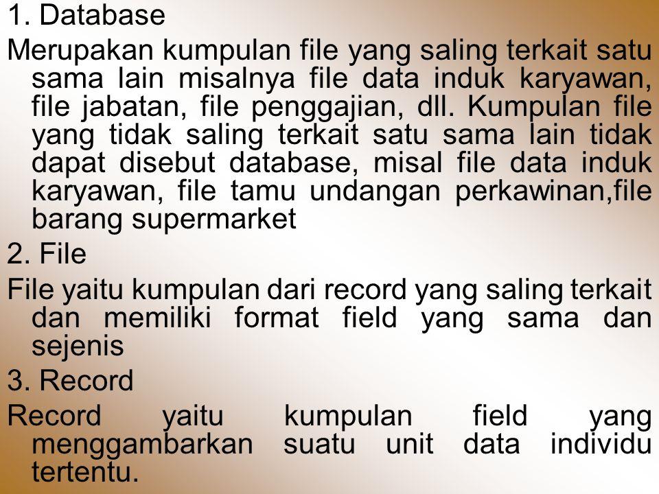 1. Database Merupakan kumpulan file yang saling terkait satu sama lain misalnya file data induk karyawan, file jabatan, file penggajian, dll. Kumpulan