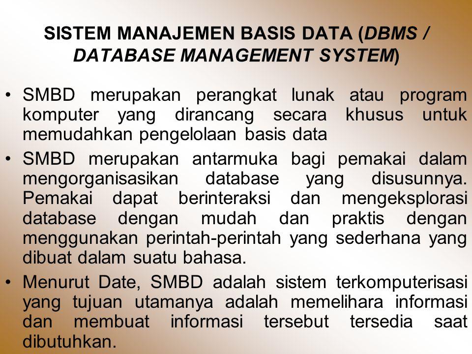SISTEM MANAJEMEN BASIS DATA (DBMS / DATABASE MANAGEMENT SYSTEM) •SMBD merupakan perangkat lunak atau program komputer yang dirancang secara khusus untuk memudahkan pengelolaan basis data •SMBD merupakan antarmuka bagi pemakai dalam mengorganisasikan database yang disusunnya.