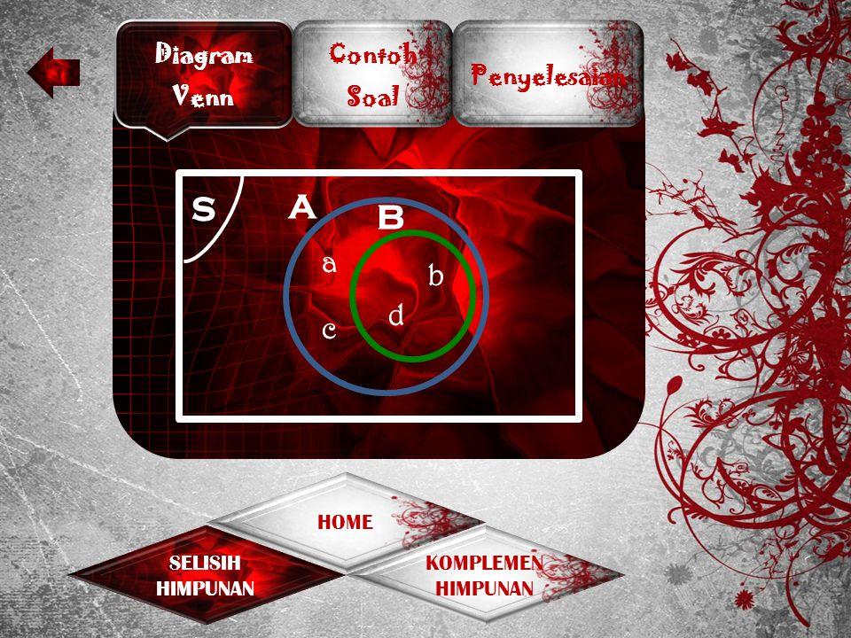 Diagram Venn Contoh Soal Penyelesaian KOMPLEMEN HIMPUNAN SELISIH HIMPUNAN HOME Perhatikan himpunan A dan B berikut.