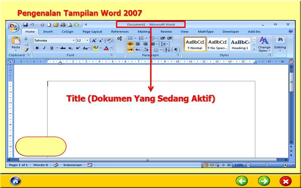 Pengenalan Tampilan Word 2007 Title (Dokumen Yang Sedang Aktif)Title (Dokumen Yang Sedang Aktif)