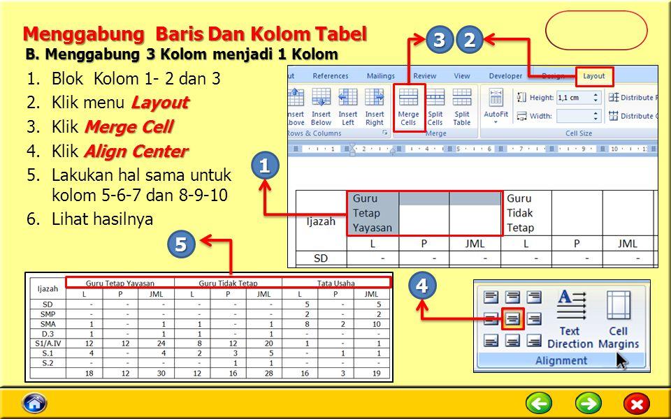 Menggabung Baris Dan Kolom Tabel 1.Blok Kolom 1- 2 dan 3 Layout 2.Klik menu Layout Merge Cell 3.Klik Merge Cell Align Center 4.Klik Align Center 5.Lakukan hal sama untuk kolom 5-6-7 dan 8-9-10 6.Lihat hasilnya 1 23 4 5 B.