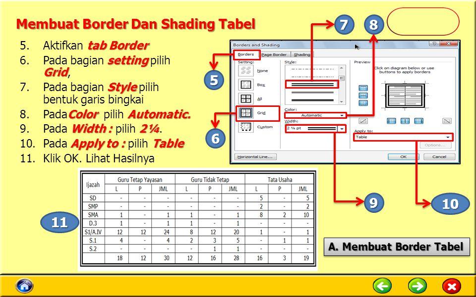 Membuat Border Dan Shading Tabel tab Border 5.Aktifkan tab Border setting Grid 6.Pada bagian setting pilih Grid, Style 7.Pada bagian Style pilih bentuk garis bingkai ColorAutomatic.
