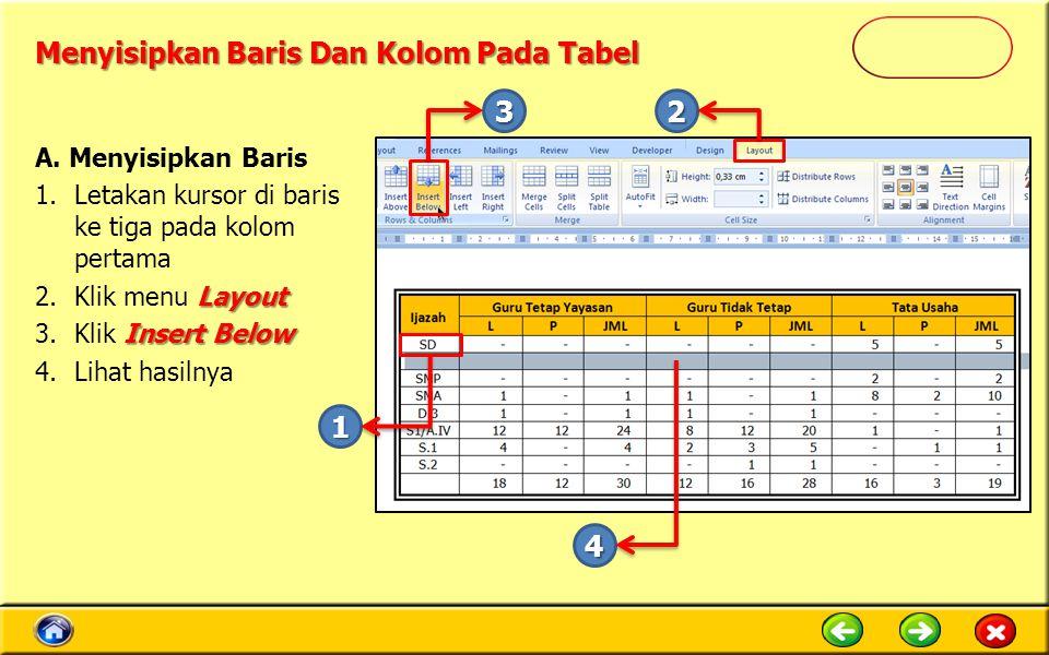 Menyisipkan Baris Dan Kolom Pada Tabel A. Menyisipkan Baris 1.Letakan kursor di baris ke tiga pada kolom pertama Layout 2.Klik menu Layout Insert Belo