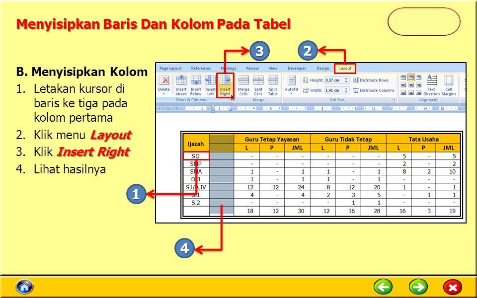 Menyisipkan Baris Dan Kolom Pada Tabel B. Menyisipkan Kolom 1.Letakan kursor di baris ke tiga pada kolom pertama Layout 2.Klik menu Layout Insert Righ