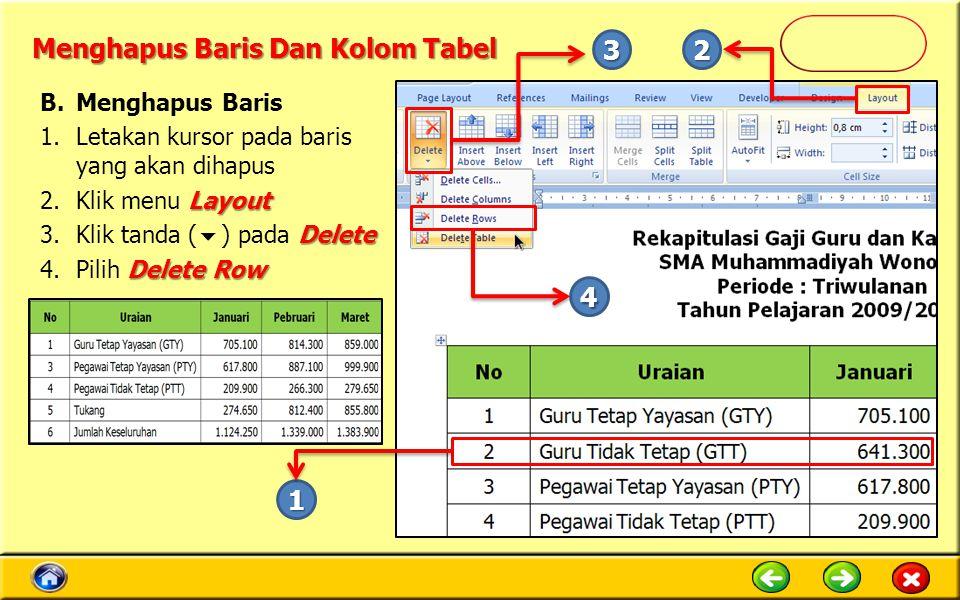 Menghapus Baris Dan Kolom Tabel B.Menghapus Baris 1.Letakan kursor pada baris yang akan dihapus Layout 2.Klik menu Layout Delete 3.Klik tanda (  ) pa