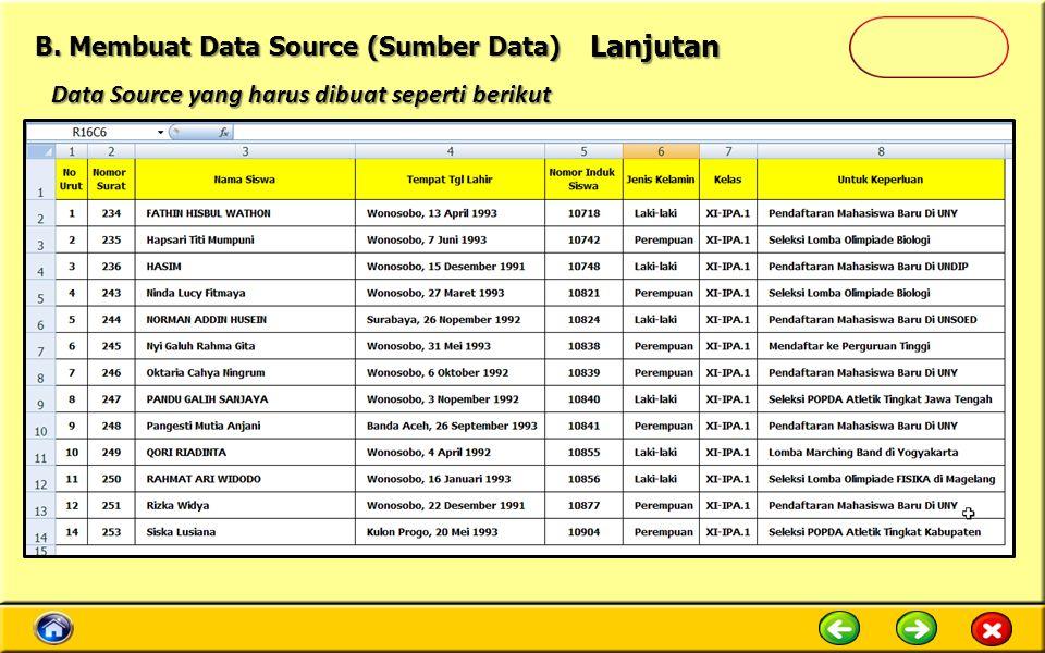 Data Source yang harus dibuat seperti berikut Lanjutan