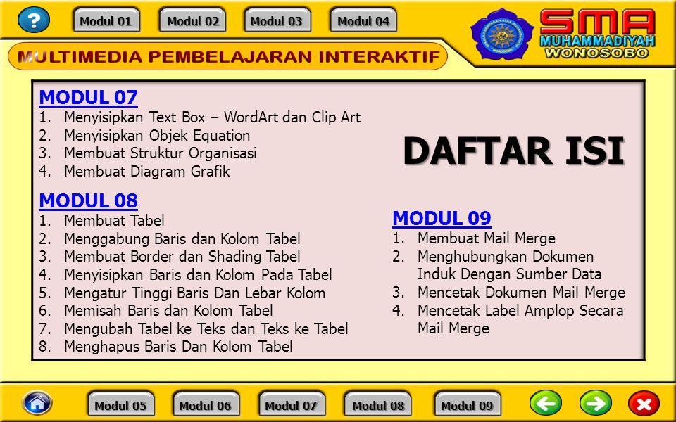 Modul 01 Modul 01 Modul 02 Modul 02 Modul 03 Modul 03 Modul 04 Modul 04 Modul 05 Modul 05 Modul 06 Modul 06 Modul 07 Modul 07 Modul 08 Modul 08 Modul 09 Modul 09 DAFTAR ISI
