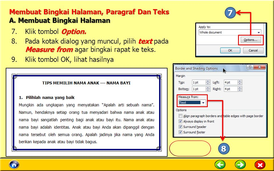 Membuat Bingkai Halaman, Paragraf Dan Teks Option.