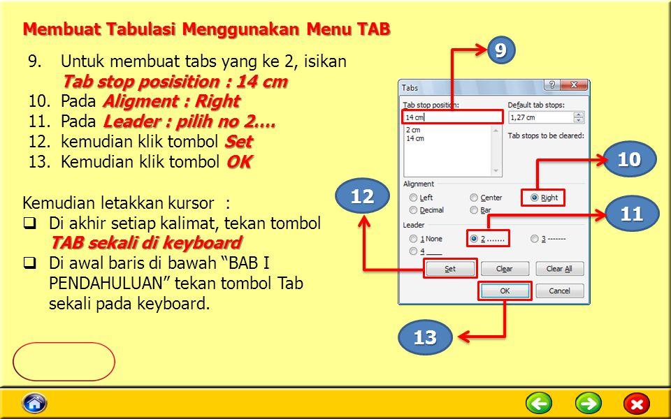 Tab stop posisition : 14 cm 9.Untuk membuat tabs yang ke 2, isikan Tab stop posisition : 14 cm Aligment : Right 10.Pada Aligment : Right Leader : pilih no 2….