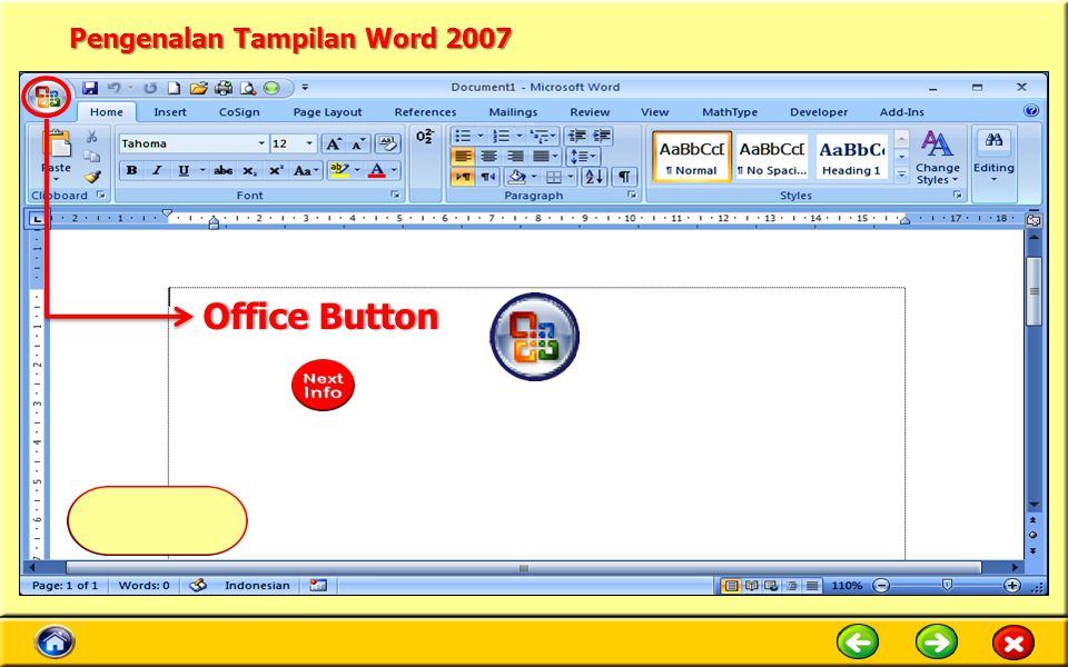 Pengenalan Tampilan Word 2007 Quick Access ToolbarQuick Access Toolbar