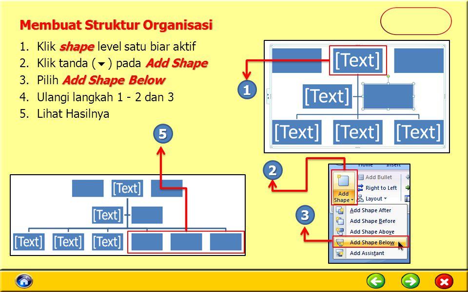 shape 1.Klik shape level satu biar aktif Add Shape 2.Klik tanda (  ) pada Add Shape Add Shape Below 3.Pilih Add Shape Below 4.Ulangi langkah 1 - 2 dan 3 5.Lihat Hasilnya 1 2 3 5 Membuat Struktur OrganisasiMembuat Struktur Organisasi