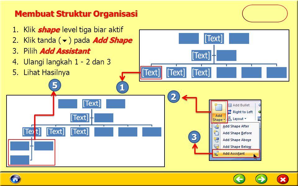 shape 1.Klik shape level tiga biar aktif Add Shape 2.Klik tanda (  ) pada Add Shape Add Assistant 3.Pilih Add Assistant 4.Ulangi langkah 1 - 2 dan 3 5.Lihat Hasilnya 1 2 3 5 Membuat Struktur OrganisasiMembuat Struktur Organisasi
