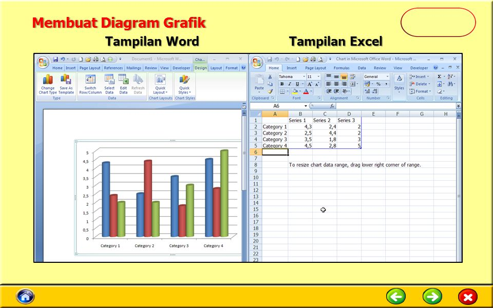 Tampilan Word Tampilan Excel Membuat Diagram GrafikMembuat Diagram Grafik