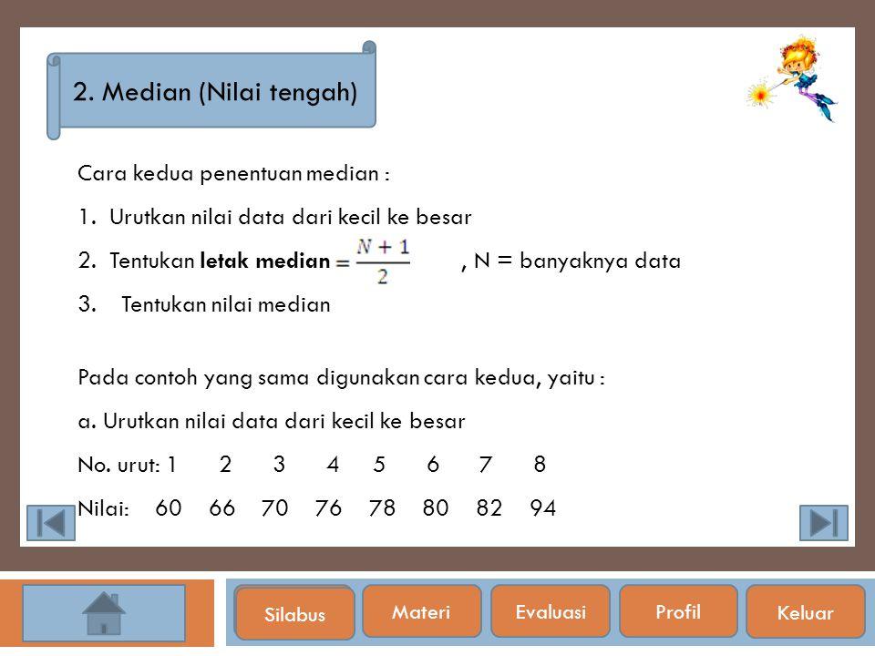 Silabus 2. Median (Nilai tengah) Cara kedua penentuan median : 1. Urutkan nilai data dari kecil ke besar 2. Tentukan letak median, N = banyaknya data