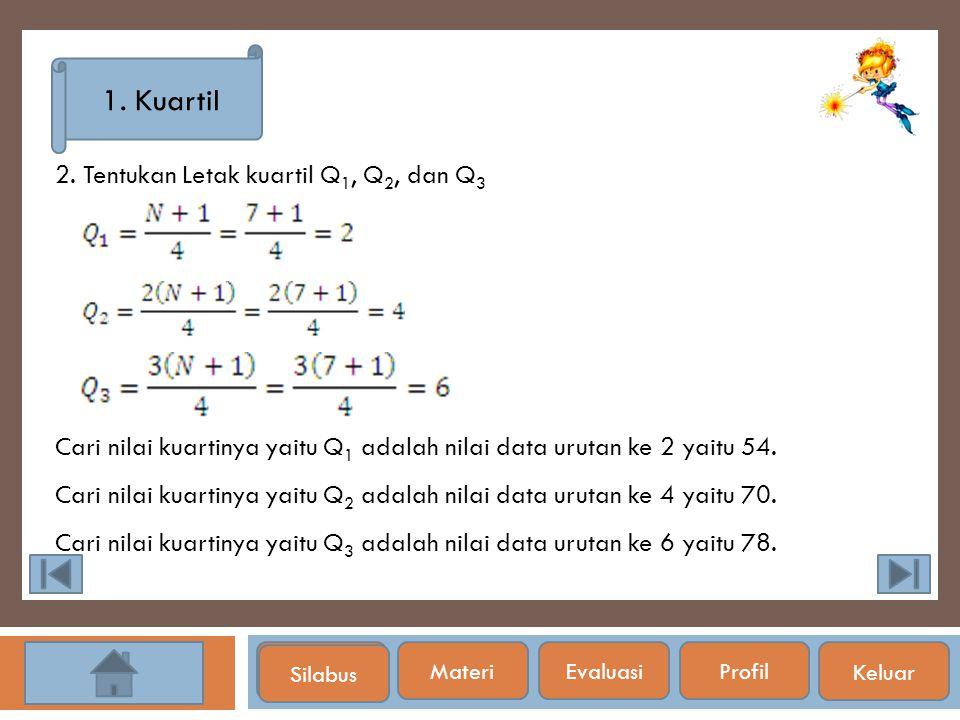 Silabus 1. Kuartil 2. Tentukan Letak kuartil Q 1, Q 2, dan Q 3 Cari nilai kuartinya yaitu Q 1 adalah nilai data urutan ke 2 yaitu 54. Cari nilai kuart