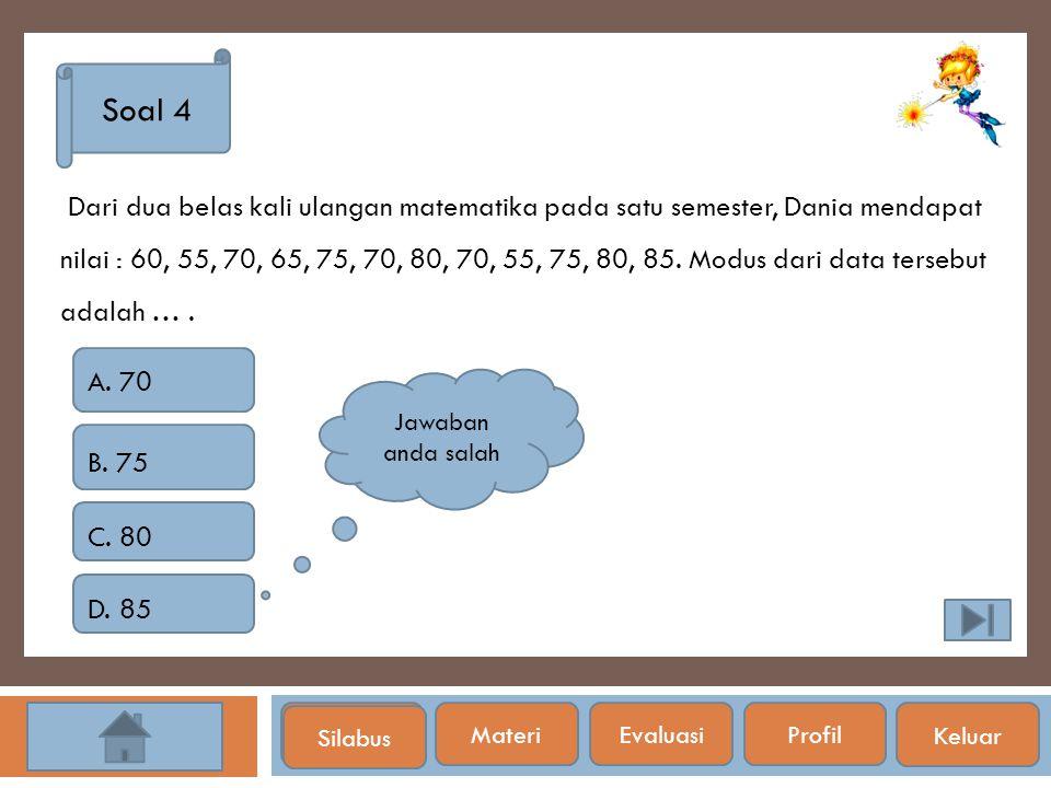 Silabus Soal 4 Dari dua belas kali ulangan matematika pada satu semester, Dania mendapat nilai : 60, 55, 70, 65, 75, 70, 80, 70, 55, 75, 80, 85. Modus