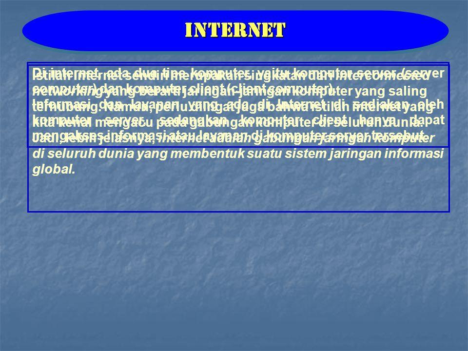 Istilah Internet sendiri merupakan singkatan dari interconnected networking yang berarti jaringan-jaringan komputer yang saling terhubung.