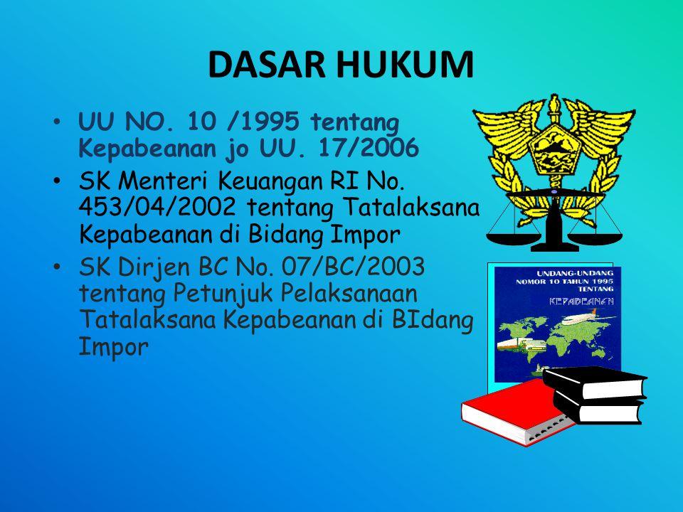 DASAR HUKUM • UU NO.10 /1995 tentang Kepabeanan jo UU.