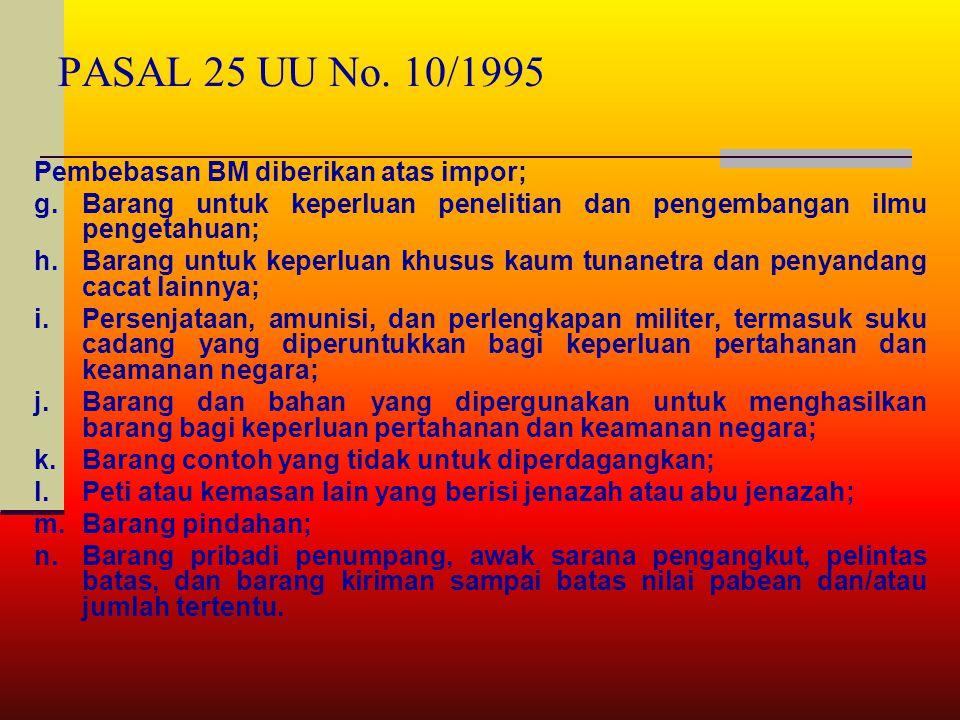 PASAL 25 UU No. 10/1995 Pembebasan BM diberikan atas impor; a.Barang perwakilan negara asing beserta para pejabatnya yang bertugas di Indonesia berdas