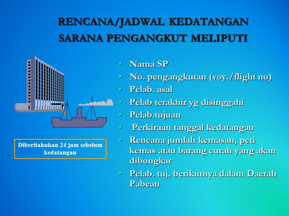 KEWAJIBAN PENGANGKUT  RKSP atau  JKSP  Sarana Pengangkut •Datang dari luar Daerah Pabean (international); •Datang dari dalam Daerah Pabean (intersu