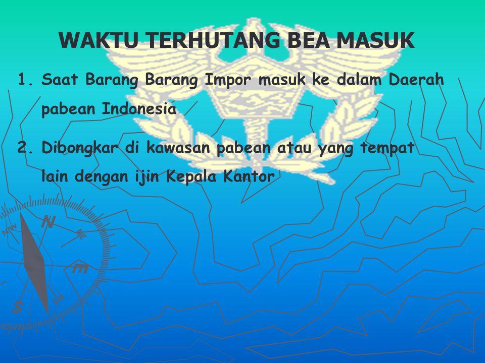 WAKTU TERHUTANG BEA MASUK 1.1.Saat Barang Barang Impor masuk ke dalam Daerah pabean Indonesia 2.