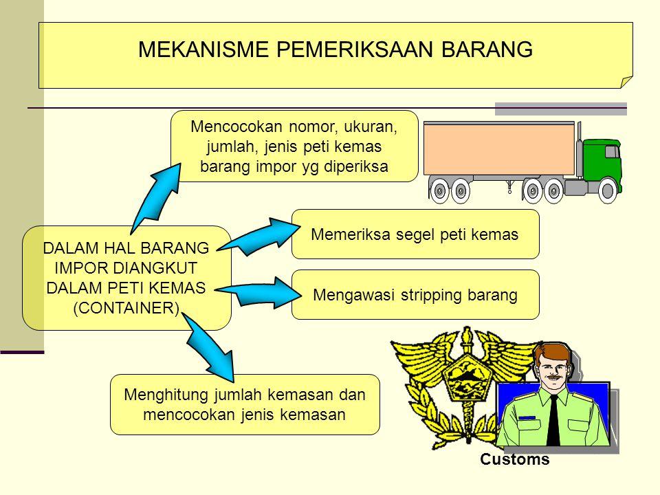 PEMERIKSAAN FISIK BARANG IMPOR  Tujuan untuk mencegah misdescription, unreported, kesalahan neg.asal brg, pemasukan brg larangan/pembatasan dan menet