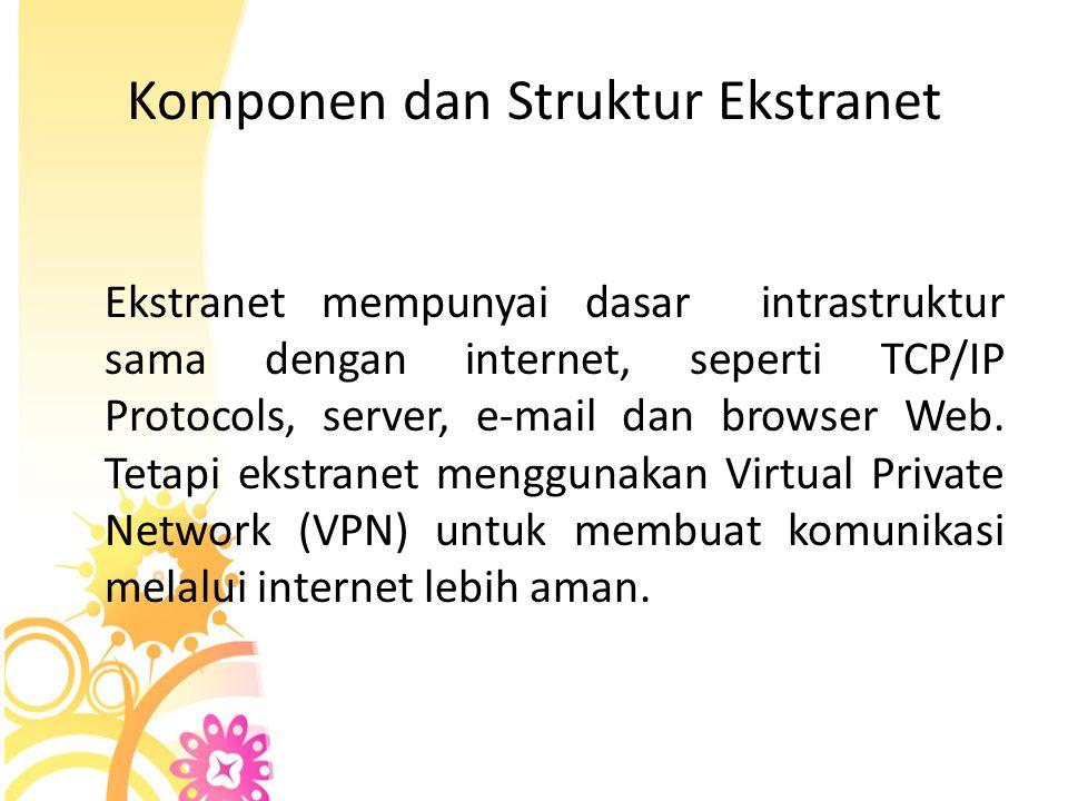 Komponen dan Struktur Ekstranet Ekstranet mempunyai dasar intrastruktur sama dengan internet, seperti TCP/IP Protocols, server, e-mail dan browser Web