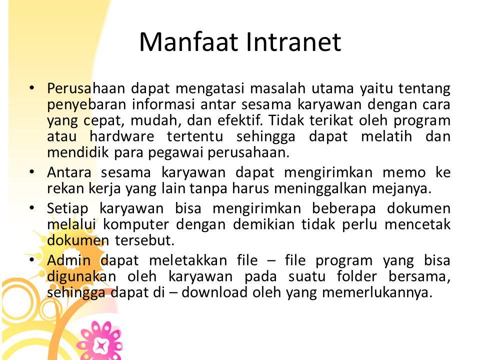 Perangkat Keras Intranet • LAN  Intranet sebenarnya adalah sebuah jaringan komputer lokal (LAN) yang diberikan teknologi internet atau WWW.