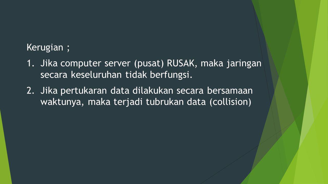 Kerugian ; 1.Jika computer server (pusat) RUSAK, maka jaringan secara keseluruhan tidak berfungsi.