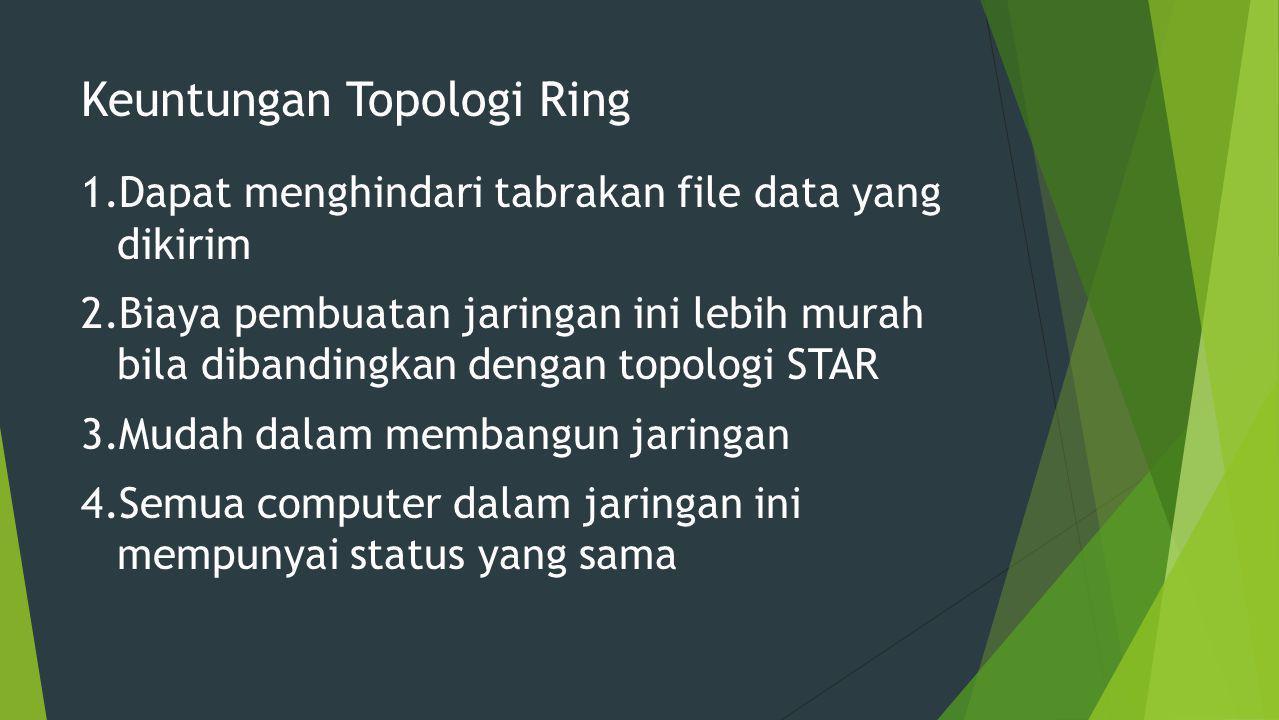 Keuntungan Topologi Ring 1.Dapat menghindari tabrakan file data yang dikirim 2.Biaya pembuatan jaringan ini lebih murah bila dibandingkan dengan topologi STAR 3.Mudah dalam membangun jaringan 4.Semua computer dalam jaringan ini mempunyai status yang sama