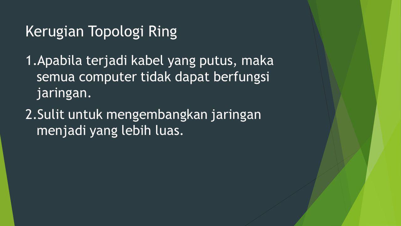 Kerugian Topologi Ring 1.Apabila terjadi kabel yang putus, maka semua computer tidak dapat berfungsi jaringan.