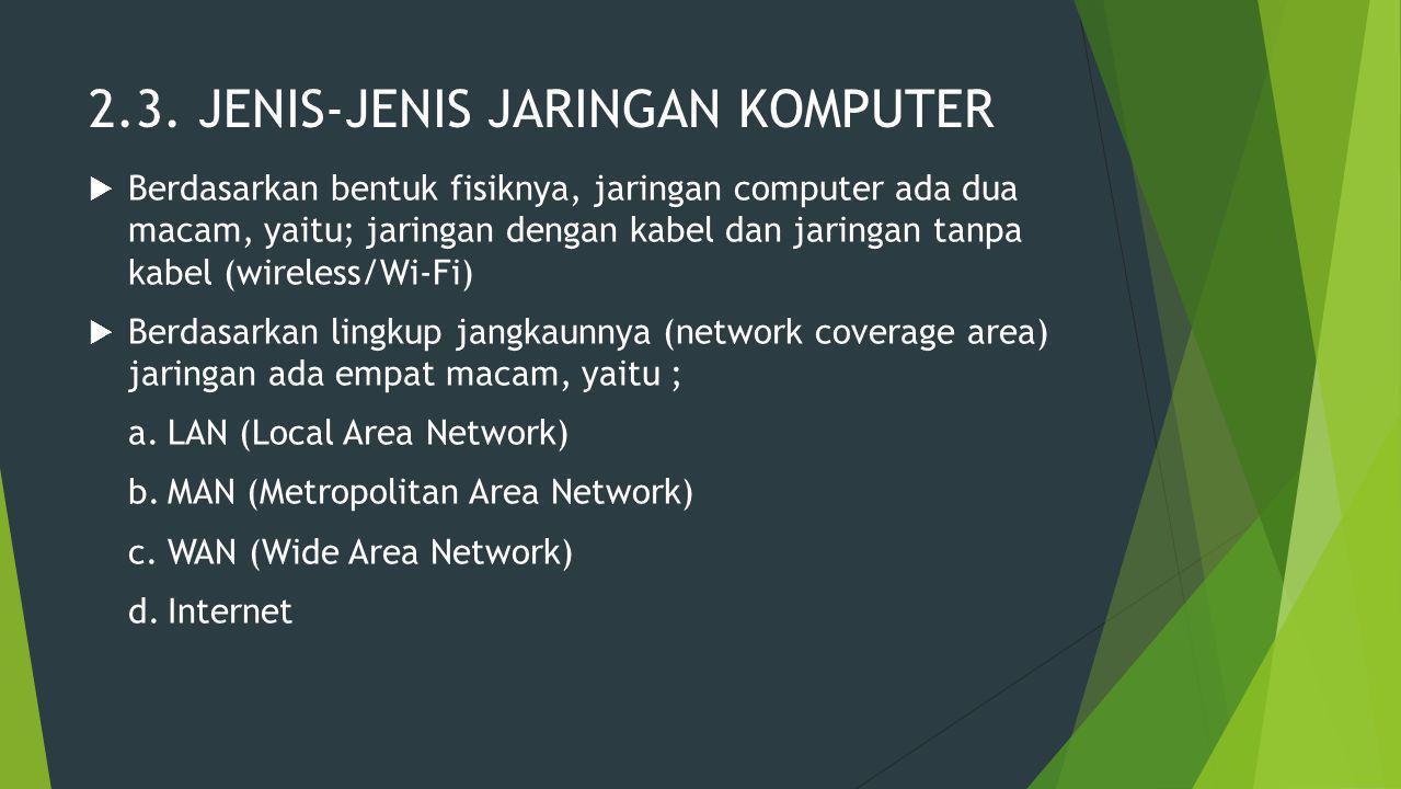 2.3. JENIS-JENIS JARINGAN KOMPUTER  Berdasarkan bentuk fisiknya, jaringan computer ada dua macam, yaitu; jaringan dengan kabel dan jaringan tanpa kab