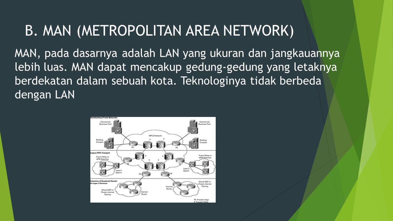 B. MAN (METROPOLITAN AREA NETWORK) MAN, pada dasarnya adalah LAN yang ukuran dan jangkauannya lebih luas. MAN dapat mencakup gedung-gedung yang letakn