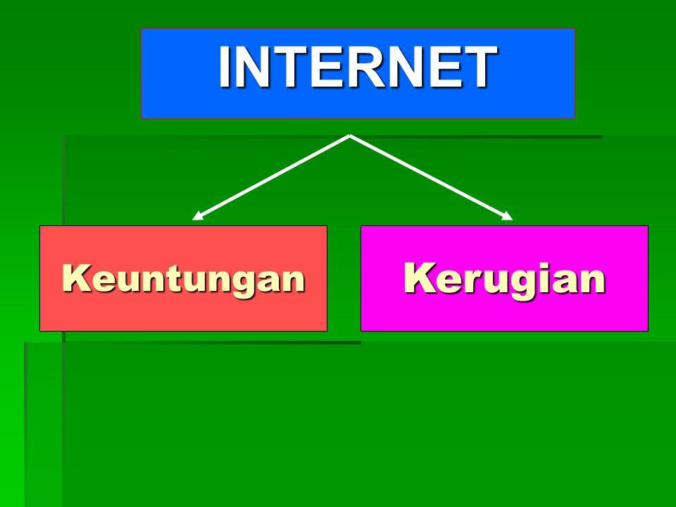 Peran INTERNET 1.Sebagai sumber data & informasi data & informasi 2.Sebagai Sarana Pertukaran Data & Informasi Apa Internet itu .
