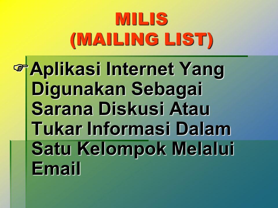 EMAIL (ELECTRONIC MAIL)  Aplikasi Internet Untuk Sarana Komunikasi Surat-menyurat Dalam Bentuk Elektronik