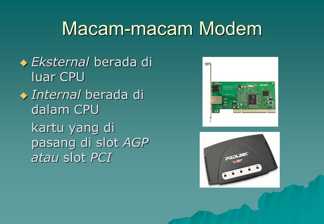 Macam-macam Modem  Eksternal berada di luar CPU  Internal berada di dalam CPU kartu yang di pasang di slot AGP atau slot PCI