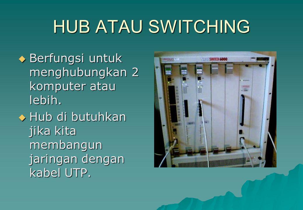 HUB ATAU SWITCHING  Berfungsi untuk menghubungkan 2 komputer atau lebih.  Hub di butuhkan jika kita membangun jaringan dengan kabel UTP.