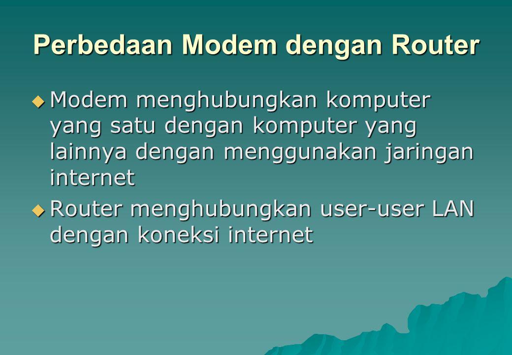Perbedaan Modem dengan Router  Modem menghubungkan komputer yang satu dengan komputer yang lainnya dengan menggunakan jaringan internet  Router meng