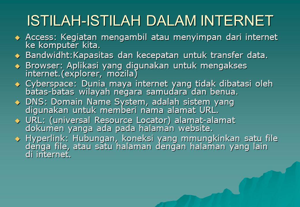 ISTILAH-ISTILAH DALAM INTERNET  Access: Kegiatan mengambil atau menyimpan dari internet ke komputer kita.  Bandwidht:Kapasitas dan kecepatan untuk t